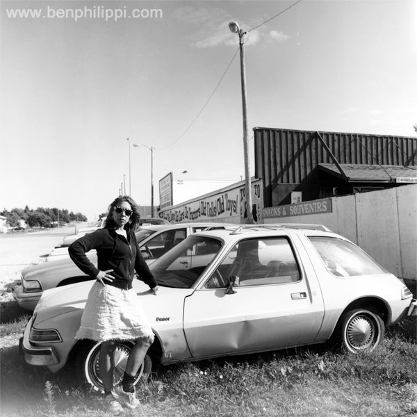 Rachel and our 1975 Pacer in Wisconsin.