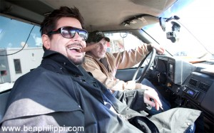 Erich Mancow Muller and Arrin in Towtruck. God, Guns & Automobiles © Ben Philippi