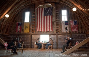 Mancow and Mark Muller in Mark's barn. God, Guns & Automobiles © Ben Philippi