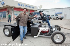 Mancow and Mark Muller with the ratrod. God, Guns & Automobiles © Ben Philippi